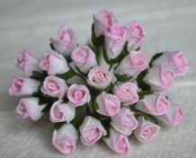 6mm LIGHT ROSY PINK ROSE BUDS (L) Mulberry Paper Flowers